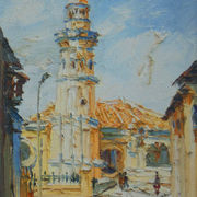 original painting - OIL ON CANVAS: MASJID ACHEH by Chong Hong Fatt