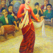 original Painting - OIL ON CANVAS: PENARI RONGGENG by Priyadie