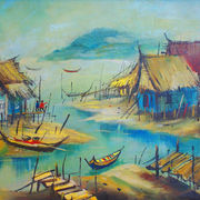 original painting - OIL ON CANVAS: KAMPUNG KU by Lim Choong Fung