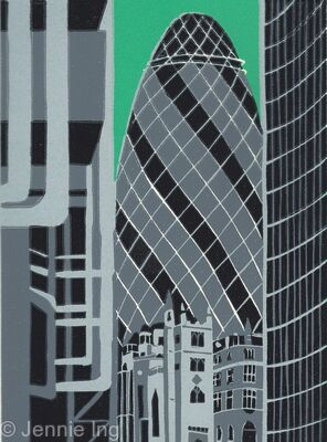The Gherkin from Lloyds (green)