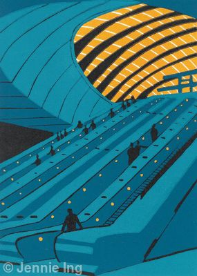 Canary Wharf Escalators (teal)