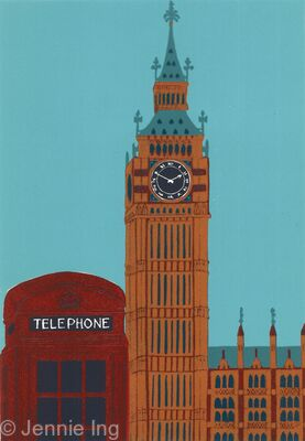 Big Ben with Red Telephone Box