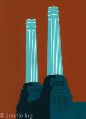 Battersea's Chimneys (teal)