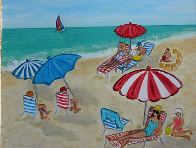 Beach Scene with Red & White Umbrella