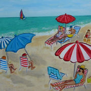 Beach Scene with Red & White Umbrella