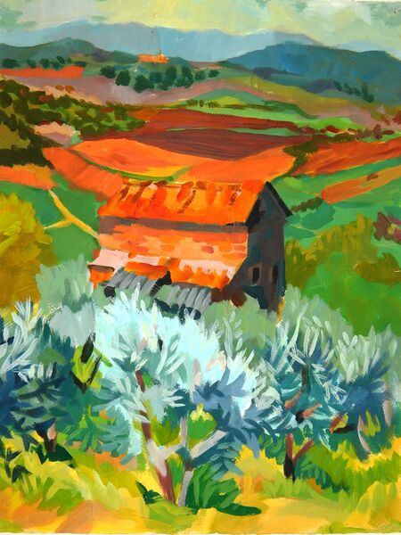 Barn with Olive Trees, Spring
