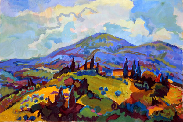 Casole Hillside with Blue Hills Behind