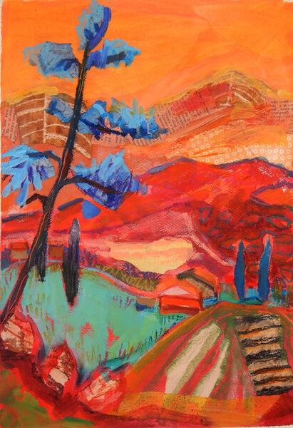 Orange Landscape with Blue Pine