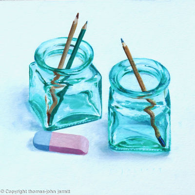 Two jars, three pencils and an eraser.