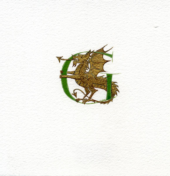 Green letter with a gold dragon