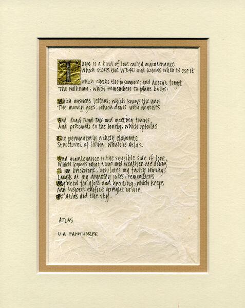 ATLAS poem original calligraphy