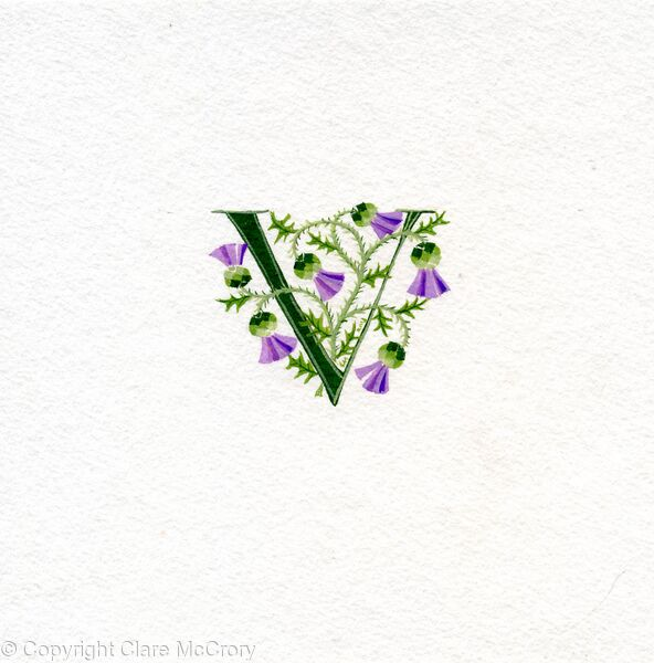 Letter V dark green with Scots thistles