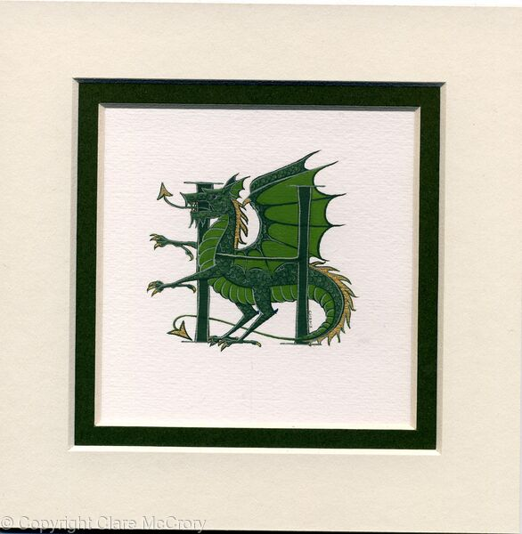 Letter H in dark green with a green dragon