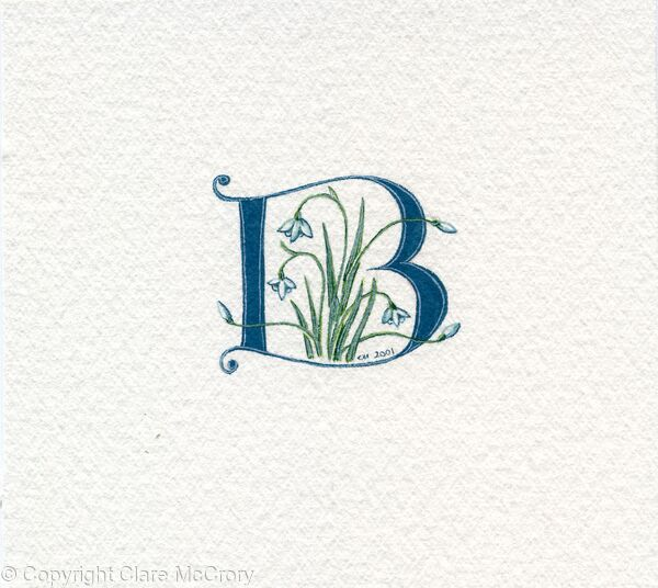 Letter B handpainted in dark green with snowdrops