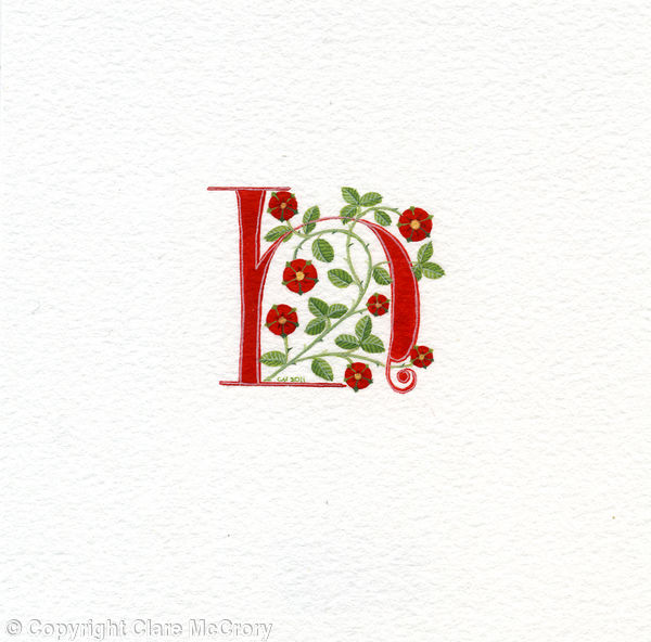 Manuscript initial letter H in red with heraldic roses