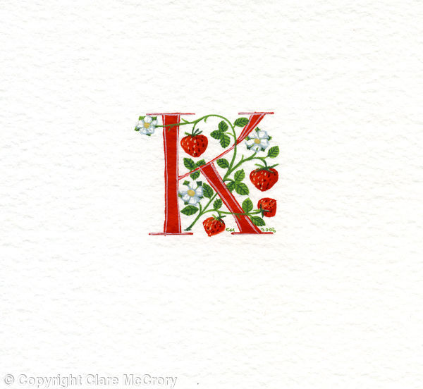 Initial letter K in red with strawberries