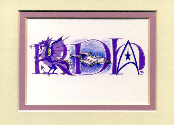 Triple initial letters with purple dragon, Star Trek USS Enterprise, logo