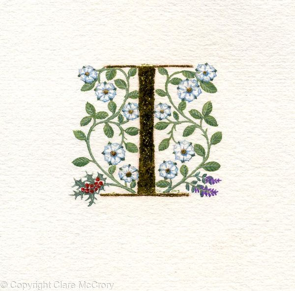 Gold leaf letter I with white roses, holly and thyme on watercolour paper