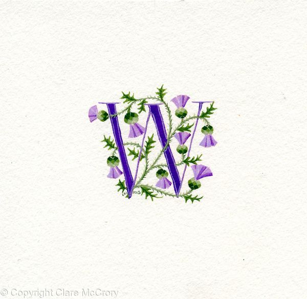 Initial letter W in pale purple with Scots thistles