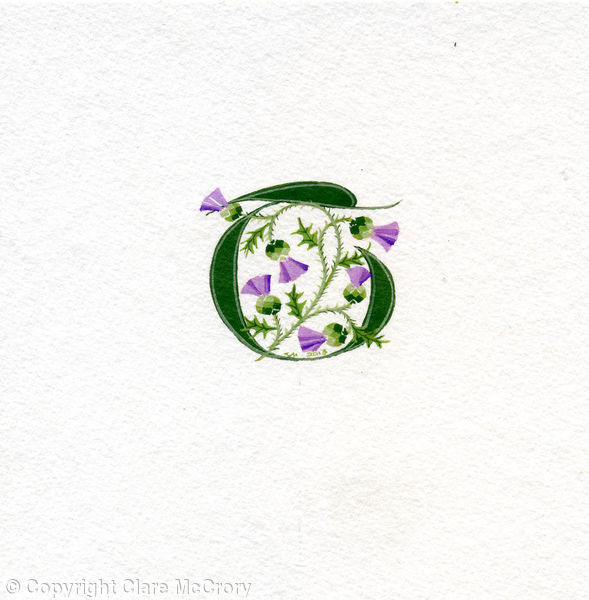 Manuscript letter T in dark green with thistles