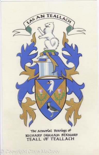 Library Painting of the Arms of Richard Graham Bernard Teall of Teallach
