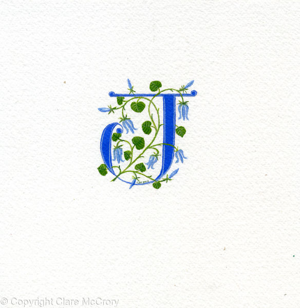 Letter J in blue with bluebells on watercolour paper