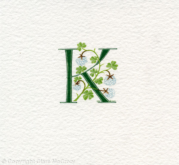 Initial letter K with white clover
