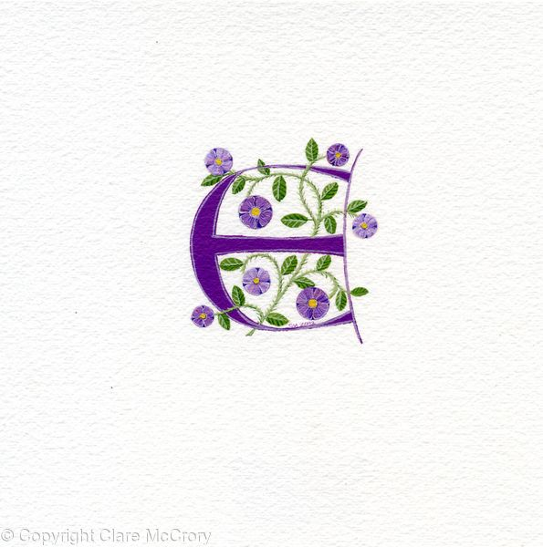 Purple letter E with poppies