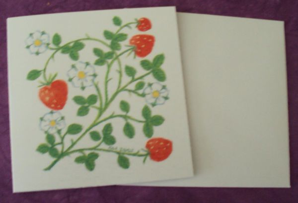 Strawberry card floral notelet card