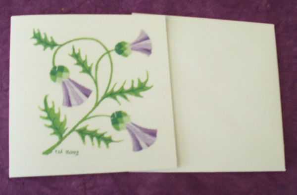 Thistle card square card blank cards
