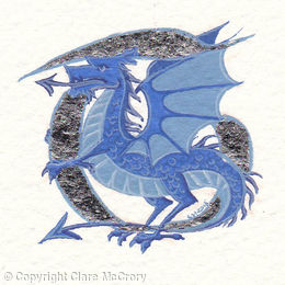 Initial letter T in Palladium leaf with a blue dragon