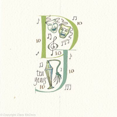 Custom double initials D J with theatrical motifs