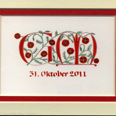 Two initials in red with Poppies wedding gift