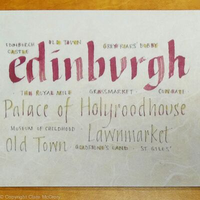 Edinburgh Placemat calligraphy design print.