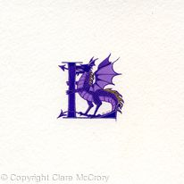 Purple letter with purple dragon