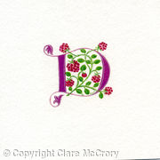 Letter D in dark pink with raspberries