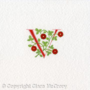 Letter V in red with red heraldic roses