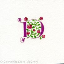 Letter D with raspberries on watercolour paper