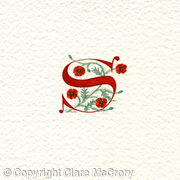 Initial letter S in red with poppies