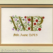 Gold leaf double letters handpainted with thistles and red roses on watercolour paper
