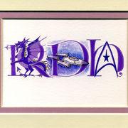 Triple initial letters with purple dragon, Star Trek USS Enterprise, logo