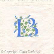 Initial letter B in blue with bluebells