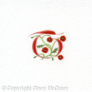Manuscript initial T in red with Poppies