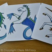 Dolphin, Seahorse, Unicorn Greetings cards