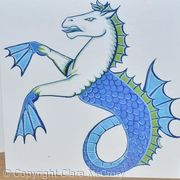Set of three cards, blue Dragon, Seahorse, Griffin heraldry greetings cards