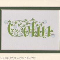 Boy's name with white clover handpainted