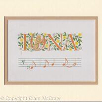 Custom name IONA illumination with music notation
