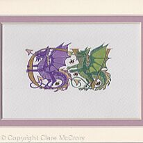 Two initials in gold with purple and green dragons