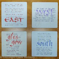 Placemats set of four square mats -  East, West, Glasgow, South