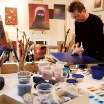 Adam in his studio